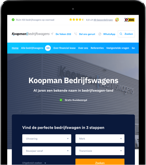 Koopman Bedrijfswagens afmetingen tablet